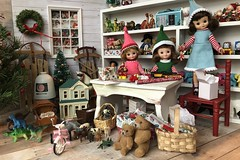 10.  We are Santa's elves (Foxy Belle) Tags: doll christmas 16 scale santas workshop toy north pole toys miniature dollhouse barbie diorama holiday scene room wrapping gifts tiny vintage betsy mccall handmade felt elf costume