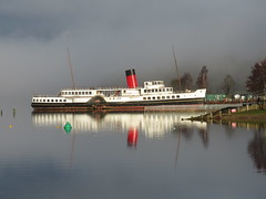 The Maid in the mist. (aitch tee) Tags: reflections touristview touristattraction ship boat historicship scotland lochlomond paddlesteamer themaidoftheloch