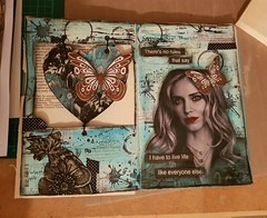 A couple of pages in my altered book. #alteredbook #art #create #expressyourself #mixedmedia (Pink_Flamingo_) Tags: art mixedmedia alteredbook create expressyourself