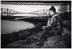 IMG_2103-Edit (Cauther Photography) Tags: woman mono scotland model hat jacket leather jeans boots beautiful canon cold grain rocks sea water bridges pose look eyes