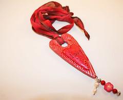 Polymer Heart Pendant (Bits of Clay) Tags: polymerclay pendant handmade heart silk ribbon beads