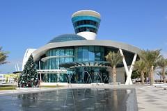 Yas Island, Abu Dhabi, UAE (Seventh Heaven Photography *) Tags: yas island marina abu dhabi uae united arab emirates yacht club building glass architecture fountain christmas tree palms trees blue sky nikon d3200 dubai