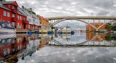Haugesund,  Norway (Vest der ute) Tags: g7x norway rogaland haugesund sea seaside buildings boat boats reflections mirror clouds bridge fav25 fav200