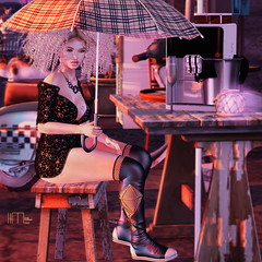 715-a-coffee-at-sunset (lindalindalein mayo) Tags: vanity hair tres chic event mode sl second life fashon blog new pure poison k 9 kustom nerido pose rain coffee