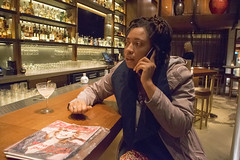 DSC_2864 Shoreditch London with Alesha from Jamaica on her Phone Again! at Nobu Japanese Hotel (photographer695) Tags: shoreditch london with alesha from jamaica nobu japanese hotel her phone again