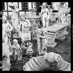 Fejø (tiltdesign2016) Tags: fejø fejo dänemark denmark ilfordhp5400asa 400800 analogphotography bw mittelformat yashicamat124g ilfordilfosol319 skulptur garden garten