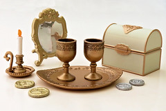 Antique Shop # 2 (MurderWithMirrors) Tags: rement miniature antique mwm mirror trunk coins candle tray chalice cup