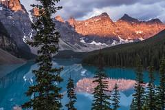 Moraine Lake (birgitmischewski) Tags: morainelake alberta sunrise mountains reflection canada