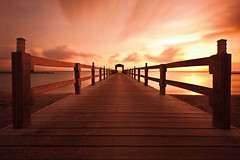 Bridge to Heaven (american_flat) Tags: beach brown clouds coastal dock ocean orange photography pier pink sand sea shore sky sunset yellow