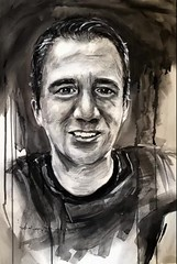"Charcoal and gouache ""Self"" 36x51cm on hot pressed Arches watercolor (Andreas Heinen) Tags: drawing sketch gouache portrait art charcoal"