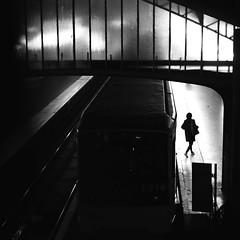 Going out of the subway (pascalcolin1) Tags: paris13 femme woman subway métro nuit night lumière light quais photoderue streetview urbanarte noiretblanc blackandwhite photopascalcolin 50mm canon50mm canon carré square