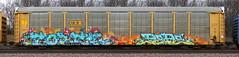 Fobek/Pepe by Kick (quiet-silence) Tags: graffiti graff freight fr8 train railroad railcar art fobek hof otr kick msk seventhletter autorack csx ttgx987608