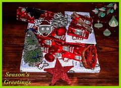 All wrapped up.... (rustyruth1959) Tags: tree christmastree pinecone wrappingpaper glitter border frame table tabletop decorations gifttags driedfruit cinnamon paper gifts seasonsgreetings presents stilllife ssc saturdayselfchallenge nikon1855mm nikond5600 nikon takeaim preparation