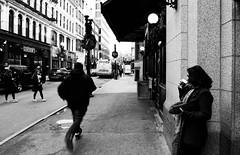 Slow down, Speed Up|Boston (sayan51) Tags: slow fast blackandwhite people street streetphotography coffee cold boston downtown frozenintime frozenmoment running man city cityscape cmwd cmwdblackandwhite sar24105