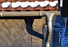 Downpipe twins (Gerlinde Hofmann) Tags: germany thuringia village bürden downpipe roof snow rooftile shadow slateshingled gutter
