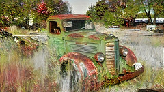 Green Truck Thursday (Eclectic Jack) Tags: ddg generator dream deep processing processed process post manipulated eastern oregon trip october 2018 rural agriculture farm farming autumn fall abandoned enterprise happy truck thursday