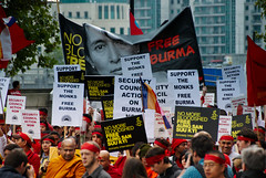 """071006_Burma_056 (hoffman) Tags: activism activist amnesty banner burma burmese campaign campaigner campaigning crowd demo demonstrate demonstrater demonstrating demonstration demonstrator disapproval dissapproval freedom group horizontal march marching monks oppression placard protest protesting 181112patchingsetforimagerights davidhoffman davidhoffmanphotolibrary socialissues reportage stockphotos""""stock photostock photography"""" stockphotographs""""documentarywwwhoffmanphotoscom copyright"""