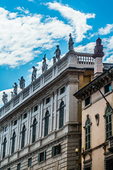 Palazzo Maffei (completed 1668) with statues of Greek gods, Piazza delle Erbe, Verona, Italy (R H Kamen) Tags: 16thcenturystyle 16thcentury italy veneto veronaitaly architcture balustrade buildingexterior classicalstyle day facade mannerist outdoors palace palazzo rhkamen roof statuary statue verona