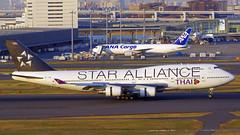 Boeing 747-4D7, HS-TGW, Thai Airways International (Star Alliance Livery) (tkosada.mac) Tags: thaiairwaysinternational staralliancelivery boeing b744 tokyointernationalairport hanedaairport hnd rjtt