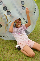 Emerging a bit dazed, but still smiling (radargeek) Tags: mustang oklahoma mustangwesterndays facepaint smile kid child children kids inflatables ball inflatable bumper bubble soccer human 2018 september