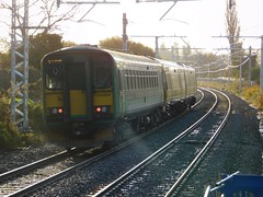 The catcher of rays (The Walsall Spotter) Tags: class153dmu 153354 bloxwichnorthrailwaystation thechaseline thechaselineelectrification sunlight sun rays overheadlineequipment overheadwires