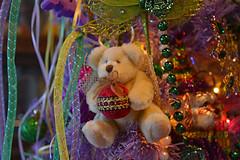 DeeDee on the Mardi Gras Tree (BKHagar *Kim*) Tags: bkhagar bear teddy teddybear htbt animal fuzzy deedee mardigrastree halo ornament