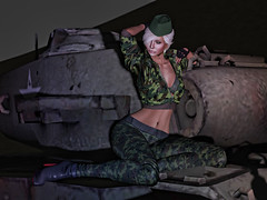 War isn't ower (Virtual World Connect) Tags: military army sl secondlife blonde girl tank