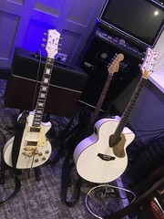 Gould Les Paul, Gretsch Rancher White Falcon, Squier Strat, Line 6 amplifi 150 (gretschplayer) Tags: lespaul stratocaster strat whitefalcon squier gretsch line6