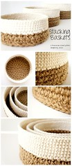 Basket Gifts : Stacking Baskets Crochet Pattern by JaKiGu – Three nesting baskets worked in jut… (giftsmaps.com) Tags: gifts