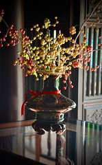 Places, Things and Another Story (The Spirit of the World ( On and Off)) Tags: hue vietnam gardenhouse plantationhouse historical home house wood door table lacquer vase dryflowerbuds reflections restored nharuong oldcity light stilllife southeastasia asia