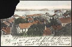 Postkort fra Agder (Avtrykket) Tags: bark bolighus by holme hus hustak postkort seilskute sjø skjærgård øy grimstad austagder norway nor