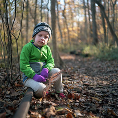 (patrickjoust) Tags: mamiya c330 s sekor 80mm f28 kodak portra 160 tlr twin lens reflex 120 6x6 medium format c41 color negative film manual focus analog mechanical patrick joust patrickjoust lake roland baltimore county llewelyn maryland usa us united states north america estados unidos woods forest trees fall autumn kid boy child sitting old railroad tracks path park