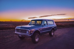 Blue '72 (CTfotomagik) Tags: 1972 chevrolet chevy k5 blazer truck sunset oil paint rendering nikon bowtie wideangle bfgoodrich 4x4 suv classic collector mancave colorado usa american generalmotors vehicle off road art artistic