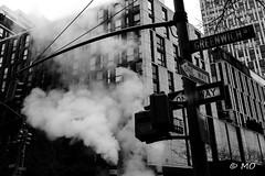 Fire in the city (mathieuo1) Tags: nyc nikon city street streetphotography urban town bnw blackandwhite urbanart art fineart smoke pedestrian crossing zebra panel dark oppression old architecture artistic mathieuo