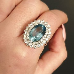 Dive deep into this spectacular aquamarine nestled in a double diamond cluster . . . #voltairediamonds #diamond #diamonds #diamondring #ringinspo #engagementring #engagementrings #ringgoals #engaged #isaidyes #ihavethisthingwithdiamonds #gemstones #dublin (VoltaireDiamonds.ie) Tags: diamond rings engagement jewellery