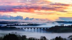 St German's Viaduct (Timothy Gilbert) Tags: lynherriver fog mist sunset stgermans m43 microfourthirds panasonic microfournerds viaduct lumix gx8 panasonic100400mmf4063 cornwall