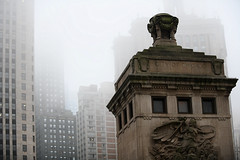 Chicago Fog (Anthony Mark Images) Tags: chicago fog dusablebridge memorial skyscrapers architecture nikon d850 illinois usa michiganavenuebridge jeanbaptistepointdusable overcast