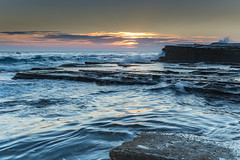 Rock Ledge and Seascape (Merrillie) Tags: daybreak theskillion nature australia terrigal sunrise morning newsouthwales rocks earlymorning nsw sea rocky ocean coast landscape dawn coastal waterscape outdoors seascape waves centralcoast water sky