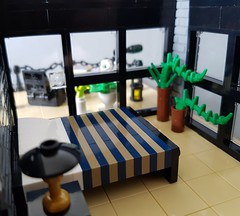Shallow-Water House MOC. Bedroom with windows. (betweenbrickwalls) Tags: lego afol moc house home interior interiordesign design furniture
