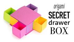 Origami Secret Drawer Box Tutorial - DIY - Paper Kawaii (paperkawaii) Tags: origami instructions paperkawaii papercraft diy how video youtube tutorial