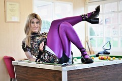 Fancy joining me on the table? (Miss Nina Jay) Tags: trannie tights
