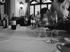 School reunion (lebre.jaime) Tags: people table glass bottle interior bw blackwhite noiretblanc pb pretobranco sw schwarzweis ptbw contax g2 biogon 2828 ilford xp2