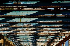 Blue sky (David Ian Ross) Tags: pillar sky suffolk wharf orwell dock port derelict quay october autumn waterfront architecture paint blue green beams shadow sunlight texture albion cranfield brothers