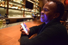 DSC_2808 Nobu Japanese Hotel Cocktail Bar Shoreditch London with Dee from Botswana on her Phone Again! (photographer695) Tags: with dee from botswana nobu japanese hotel cocktail bar shoreditch london her phone again