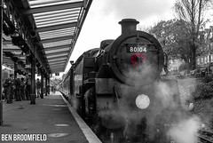 Standard Standing for Remembrance (Ben_Broomfield) Tags: remember remembrance day 80104 poppy poppies red steam smoke swanage railway locomotive platform bw monochrome mk1 2018 d500