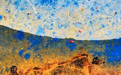 Swoop Into Place (jaxxon) Tags: 2018 d610 nikond610 jaxxon jacksoncarson nikon nikkor lens nikon105mmf28gvrmicro nikkor105mmf28gvrmicro 105mmf28gvrmicro 105mmf28 105mm macro micro prime fixed pro abstract abstraction paint metal rust dirty wet dry curve landscape sky hills rusty crusty urban rural decay oildrum metaldrum lid top