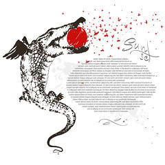 flying crocodile and sun (heliga3333) Tags: alligator africa angry animal art attack beast creature croc crocodile dangerous dinosaur dragon drawing drawn endangered fangs fierce frightening gator giant godzilla graphic huge illustration cartoon character comic decoration decorative fairy fantastic fantasy feather flying freedom fun funny sun butterflies sunset