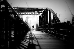 . (s@brina) Tags: bridge light shadow bicycle fog