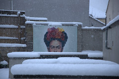 Frosty Frida (HiJinKs Media...) Tags: streetart mural fridakahlo neve snow bristol perspective geometry abstract cold walls outdoor garden fence