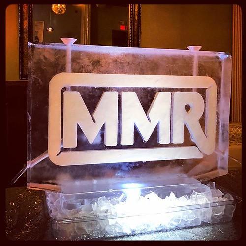 A bold #logo #icesculpture with two luges @katz21.steakhouse this weekend. #fullspectrumice #thinkoutsidetheblocks #brrriliant - Full Spectrum Ice Sculpture